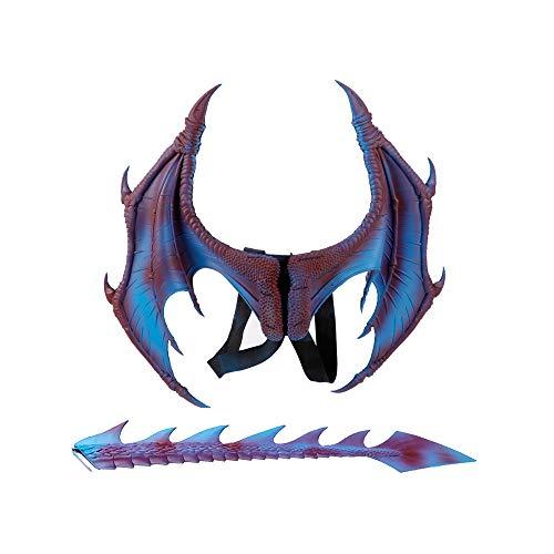 BaronHong 2-teiliges Halloween Karneval Drachen Kostüm für Kinder - Flügel, Schwanz (lila, M) (Lila Drachen Kostüm)