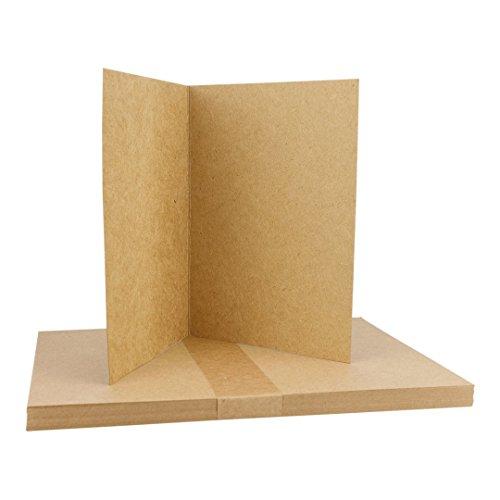 A5 Klappkarte, 283 g/m² Kraftkarton, Kraftpapier, Faltkarte braun, blanko, unbedruckt, 25er Pack