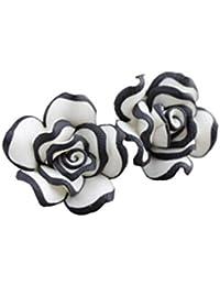 Yogogo Mode Elegant Cute Women Fleur de rose blanche noire Boucles d'oreilles