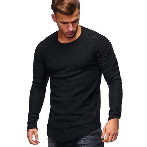 Cloom maglietta uomo, uomo maglietta t-shirt da uomo,sciolto, tinta unita, manica lunga - uomini tops maglia muscolo magliette casual moda camicie da uomo camicia (nero,m)