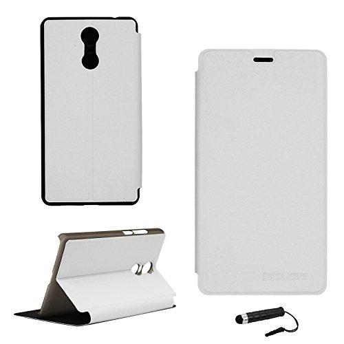 Tasche für Bluboo MAYA MAX Hülle, Ycloud PU Ledertasche Metal Smartphone Flip Cover Case Handyhülle mit Stand Function Weiß