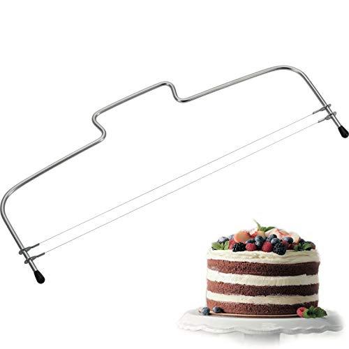 Westmark Tortenbodenteiler mit 2 gezahnten Schneiddrähten, Rostfreier Edelstahl, Länge: 32 cm, Simplex-Duo, Silber, 71602270