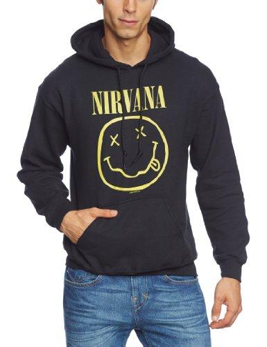 Nirvana Smiley Felpa con cappuccio nero, Nero - nero (nero), Small