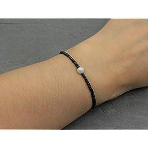 Süßwasser Zuchtperle Damen Schwarz Perlen Echte Perle Armband Elastisch Zierlich Filigran Minimalist Handmade Schmuck