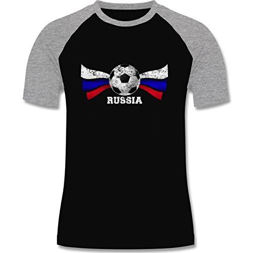 EM 2016 - Frankreich - Russia Fußball Vintage - zweifarbiges Baseballshirt für Männer Schwarz/Grau Meliert