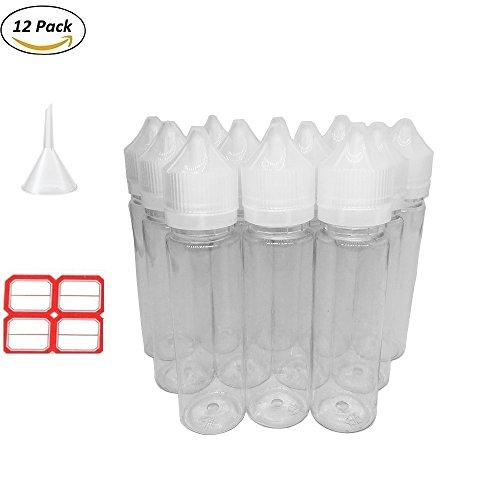 Paquete de 12 botellas de plástico para cigarrillos de 60 ml con forma de E, apretable, dispensador de unicornio transparente, botella vacía con etiqueta de embudo resistente a los niños para aceite de tinta de vapor (blanco)