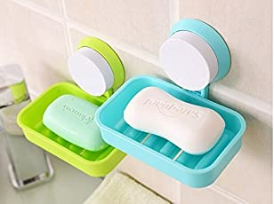 Onmall soap dish holder Wall Mount Suction cup, Soap holder rack stand container 1pc (multicolor)