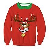 Hässliche Sweatshirt Weihnachts Lustiger Damen Rundhalsausschnitt Sweatshirts Druck Rentier Weihnachtsmotiv Weihnachtspullover Top Jumper Mantel XL