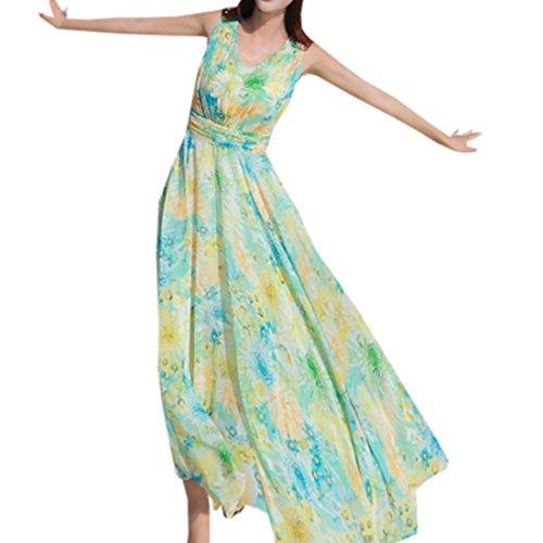 partiss femmes sans manches de Summer New Style Bohême Fleur Imprimé Robe en mousseline de soie Vert
