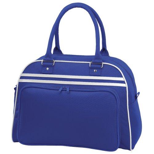 Sac de bowling Bagbase rétro - 23 litres Bleu marine/Blanc