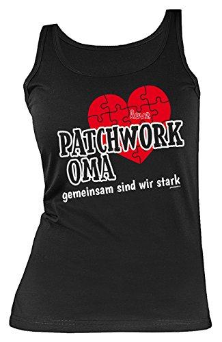 Oma-Damen-Top/Träger-Shirt/Sprüche-Tank Top: Patchwork Oma gemeinsam sind wir stark tolle Geschenkidee/Geburtstag Schwarz