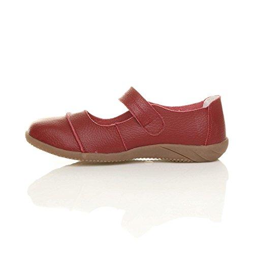 Damen Echtleder Breit Leder Ballerinas Geschlossene Slipper Arbeit Komfort Klettverschluss Schuhe Größe Dunkelrot