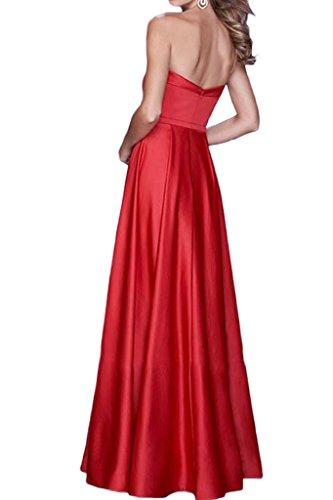 Milano Bride Damen Traegerlos Promkleider Abendkleider Festmode Lang Schleife A-Linie Fuchsie