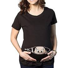 Q.KIM Camiseta de maternidad Elasticidad Suave Embarazada Camiseta Premamá T-shirt bebé divertido