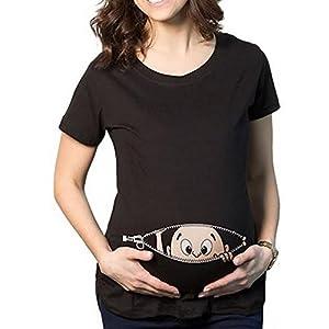 QKIM-Camiseta-de-maternidad-Elasticidad-Suave-Embarazada-Camiseta-Premam-T-shirt-beb-divertido-estampado-para-mujer-Im-coming-Negro-L
