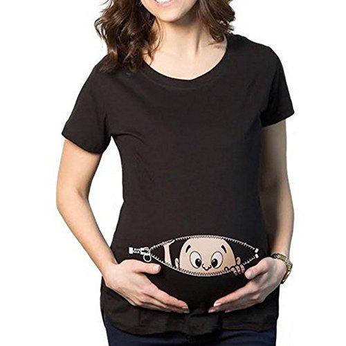 Q.KIM Witzige süße Schwangere Maternity Damen Umstandsmode T-Shirts mit Mutterschafts-niedliche lustige Slogan Motiv Schwangerschaft Geschenk Kurzarm I'm coming,Schwarz XXXL