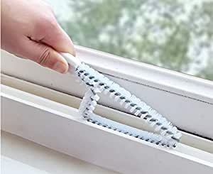 MosQuick Window or Sliding Door Track, Channel Cleaning White Brush with Black Handle