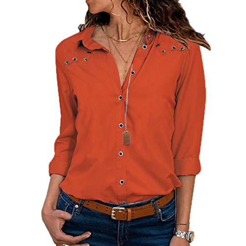Moceal camicetta donna felpe donna moda donna casual womens ladies chiffon manica lunga ol camicia casual loose collo a v top camicetta in poliestere sexy maglietta bavero top (l, arancione)