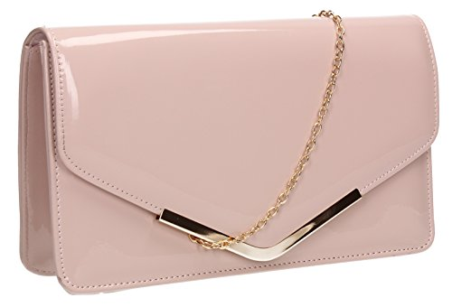 SwankySwans Damen Clutch Paris, Lackleder, Briefumschlagdesign - Pinky Nude (White Clutch Leather Patent)