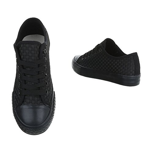 Sneakers Basse Sneakers Da Donna Basse Sneakers Stringate Ital Design Casual Scarpe Nere 6705-y