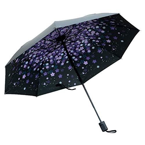 Möbel Liefert Winddichte Taschenschirme Frauen Mädchen Männer UV-Sonnenschutz Regenschirm Schwarzer Kleber Sonnenschirm UV-Schutz Lila Kirschblüte Regenkleidung (Color : Schwarz, Size : One Size)