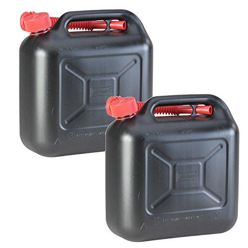 2er Set: 2x Benzinkanister schwarz 10 Liter UN Kraftstoffkanister 10 L Made in Germany !