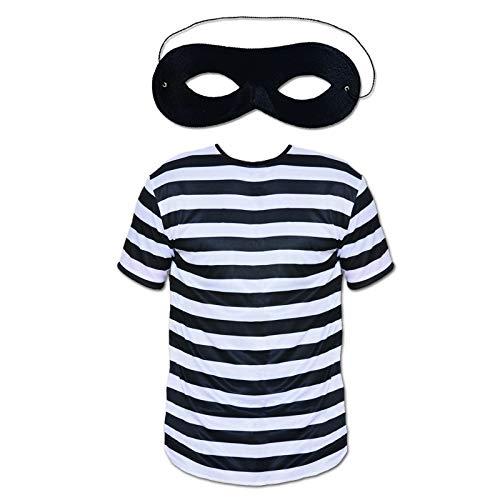 Alle Kostüm Einbrecher Schwarz - P Erwachsenen-Kostüm für Einbrecher, Unisex, 2-teiliges Set