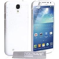 Yousave Accessories Regentropfen Hartschalenhülle (für Samsung Galaxy S4, Weiß/Transparent
