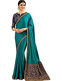 Magneitta Women's Heavy Embroidery Designer Partywear Georgette Saree With Blouse Piece