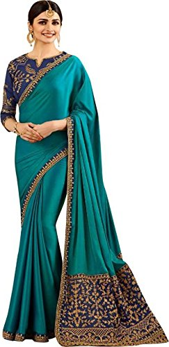 Magneitta Silk Saree With Blouse Piece (97080_Green_Free Size)