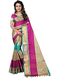 SATYAM WEAVES WOMEN'S ETHNIC WEAR BANARASI PLAIN ART SILK SAREE.(GODAVARI)