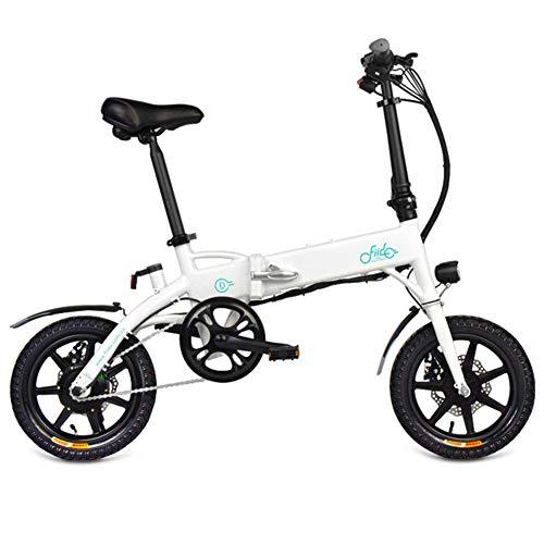 Elettrica Folden bici, Mens bicicletta della montagna 25 km / h max 250W Motore 36V in lega di alluminio pieghevole bici elettrica con le luci anteriori e 14 telefono USB Schermo titolare,Bianca,7.8AH
