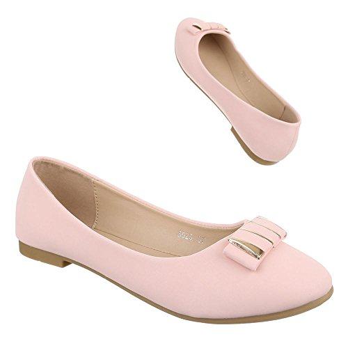 Ballerinas Schuhe Blockabsatz Ital Geschlossen design Damen Rosa SrvxwqUS5W