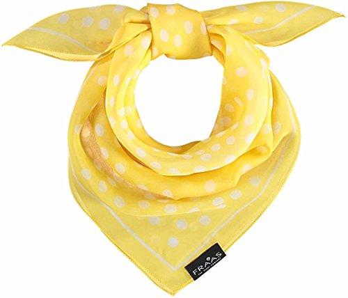 FRAAS FRAAS Damenschal Tuch mit Polka Dots aus reiner Seide, 68 x 68 cm, Seide Gelb-camel