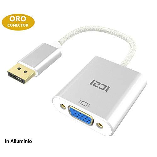 ICZI Displayport auf VGA Adapter 1080P, Vergoldet DP/DisplayPort zu VGA, Male zu Female Kabel-Adapter Konverter,Silber