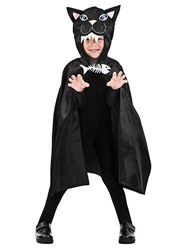 Katzen-Umhang Halloween-Cape für Kinder Kostüm-Accessoire schwarz-weiss (Kostüm Katze Weiße Kinder Für)