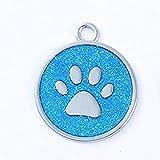 Panamami Aluminiumlegierung Cute Footprint Pet Tag Schöne Hundegeschirr Identitätskarte Anti-Lost Frame Karte Cute Pet Zubehör - blau