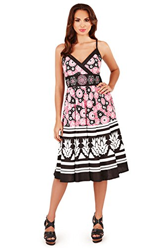 Pistachio Womens Floral Stripe Mosaic Print Crossover Short Midi Dress (Pink, L)