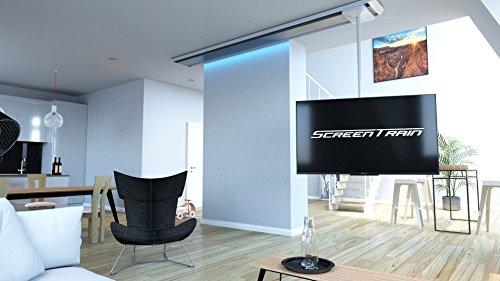 ScreenTrain 2m, TV Halterung, 1,6 Meter verschiebbar, 360° drehbar, neigbar, höhenverstellbar, bis 75 Zoll, inklusive fernbedienbarem Atmosphere-Light (indirekte Beleuchtung des Gehäuses) -