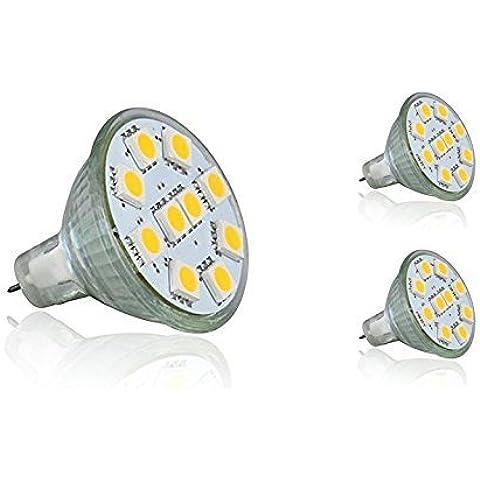 12Vmonster Confezione Da 3LED 2,5W MR11GU4Accent Spot Lampadina Lampada AC DC 12Volt Alogeno Ricambio 5050LED X 10Cluster