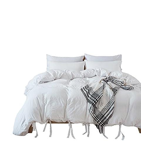 Pure Color Bettbezug Set–Standard Größe 100% Polyester Tief Grau farbigen Bettbezug und Kissenbezüge Twin Größe 2Stück, Polyester-Mischgewebe, weiß, King Size