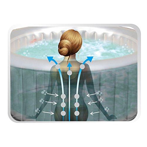 Whirlpool MSpa aufblasbar für 4 Personen 158x158cm In-Outdoor Pool 108 Massagedüsen Timer Heizung Aufblasfunktion per Knopfdruck Bubble Spa Wellness Massage - 6