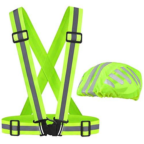 tonitott Sicherheitsweste, Reflektorweste und Helmüberzug Einstellbare Hohe Sichtbarkeit elastische Reflektierende Sicherheitsweste Helm regenüberzug für Laufen,...