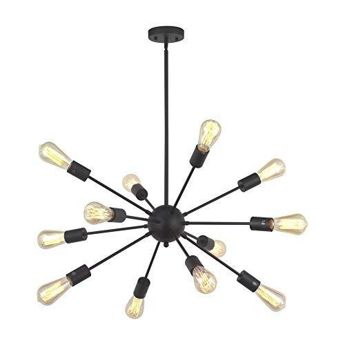 Lquide Mid Century 12 Light Kronleuchter Moderne Anhänger Beleuchtung Schwarz Sputnik Küche Foyer Esszimmer Beleuchtung Vintage Deckenleuchte -