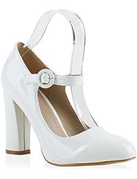 Damen Pumps T-Strap | Blockabsatz High Heels | Damenschuhe Mary Janes | Samt Velours Glitzer | Spangenpumps Lack Leder-Optik | Flandell®