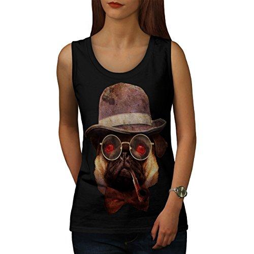 Mops Gangster Cool Komisch intelligent Hündchen Damen Schwarz S-2XL Muskelshirt | Wellcoda Schwarz