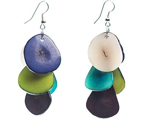 Tagua Chips Ohrringe Frühlings-Farben