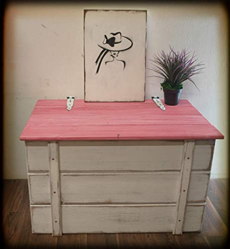 Luxus Katzentoilette, Katzenklo, Truhe'Pink' Vintage-Look, Massivholz