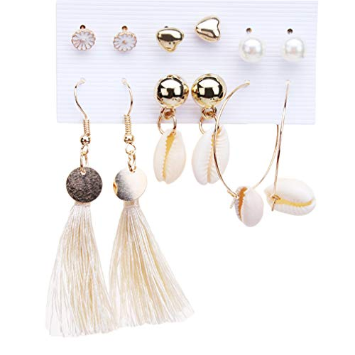 LIGHTBLUE 6 Paare/Satz Ohrschmuck Kreative Retro Ohrring Muschel Anhänger Quaste Ohrringe Einfache Böhmische Ohren Stud für - Paare Kostüm Kreativ