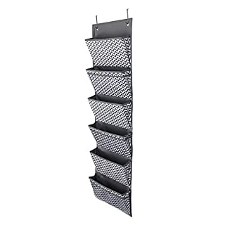 Sumnacon 6 Pockets Over Door Hanging Storage Rack File Folders Organizer Office Storage Bag School Pocket Chart Cascading Wall Organizer for Books Magazine Paper Files(Wave Pattern)